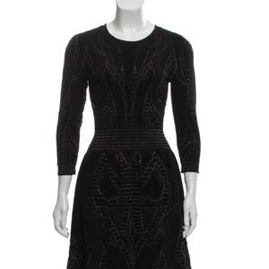 McQ Alexander McQueen Black Metallic Knit Dress